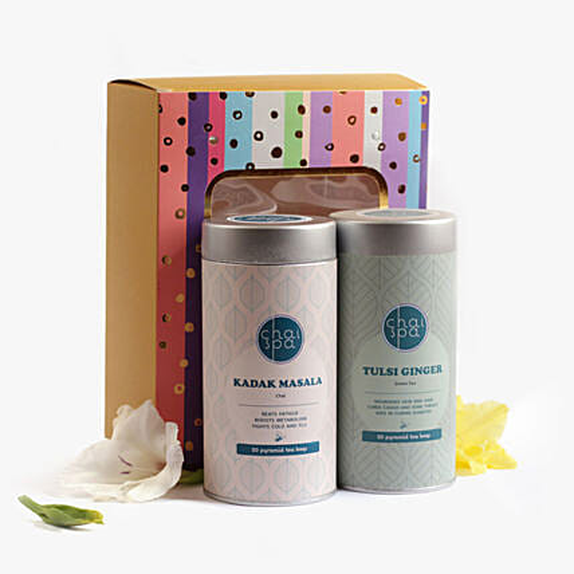Kadak Masala & Tulsi Ginger Green Tea Paradise Combo: Send Gift Hampers