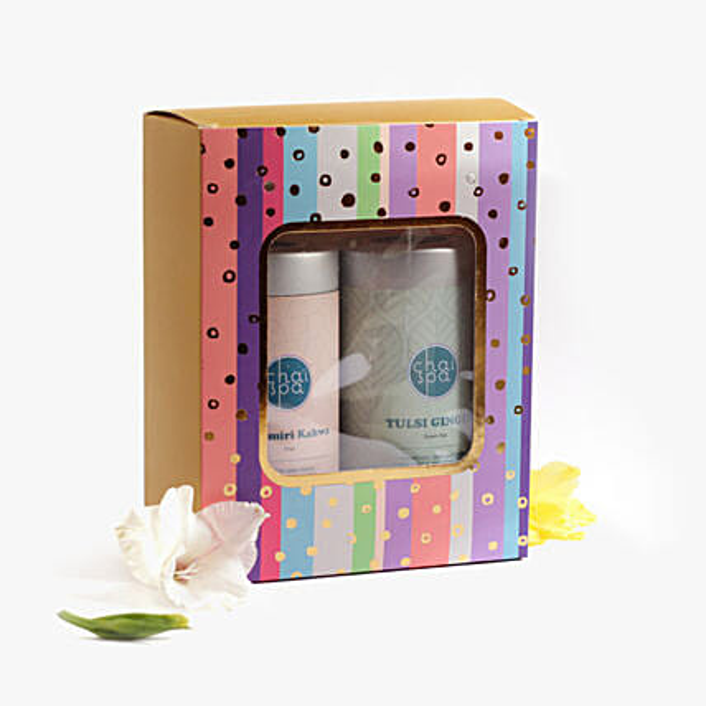 Kashmiri Kahwa & Tulsi Ginger Tea Paradise Combo: Send Gift Hampers