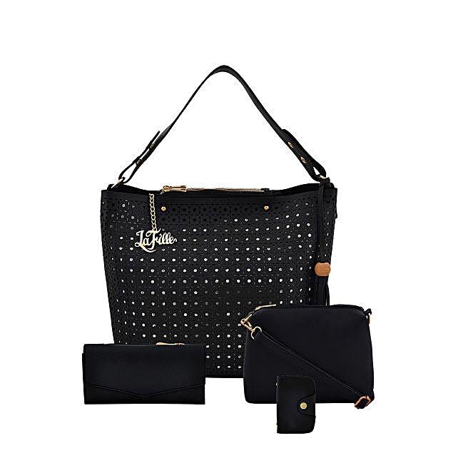 LaFille Designer Black Handbag Set: Buy Handbags
