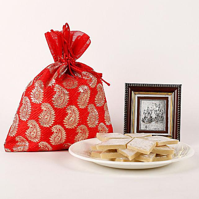 Lakshmi Ganesha Frame & Kaju Katli Hamper: Laxmi Ganesh Gifts