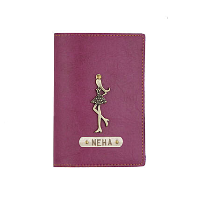 Leather Finish Passport Cover Purple: Fashion Accessories