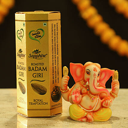 Lord Ganesha Idol & Almonds: Dry Fruits Gift Packs