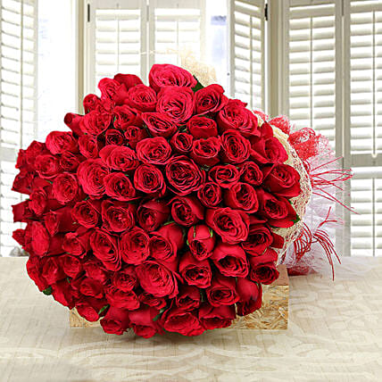 Enchanting Love- Classy 75 Red Roses Bunch: