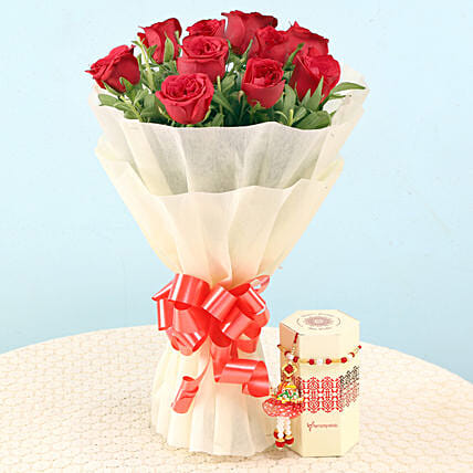 Lumba & Pearl Rakhi With Red Roses Bouquet: Send Flower Bouquets