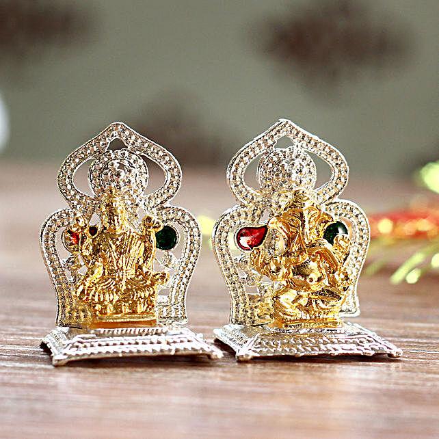 Mini Lakshmi Ganesha Idols On Two Singhasan: Laxmi Ganesha Idol Gifts