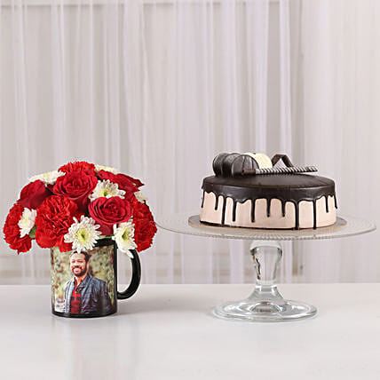 Mixed Flowers Photo Mug & Chocolate Cake: