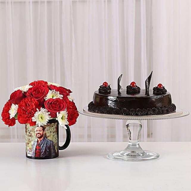 Mixed Flowers Photo Mug & Truffle Cake: