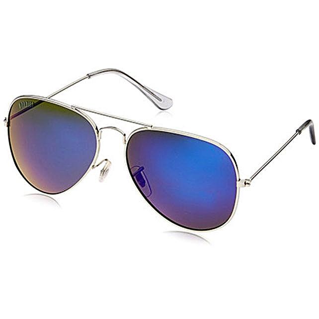 MTV Roadies Blue Mirrored Unisex Aviator Sunglasses: Sunglasses