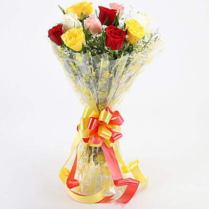 Magical Multicolored Roses Bouquet: Rose Day Gifts