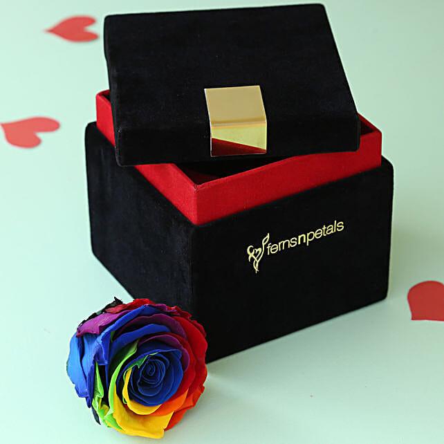 Mystic- Forever Rainbow Rose in Velvet Box: