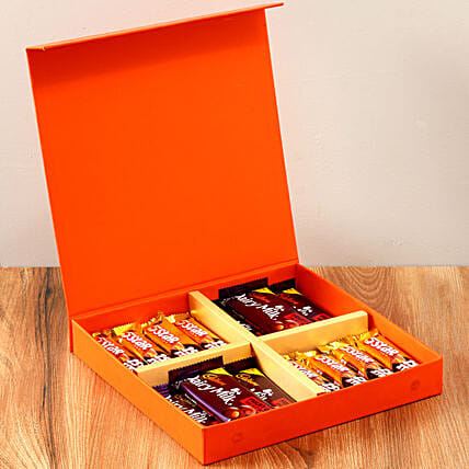 Orange Gift Box Of Chocolates: Gifts for Hug Day