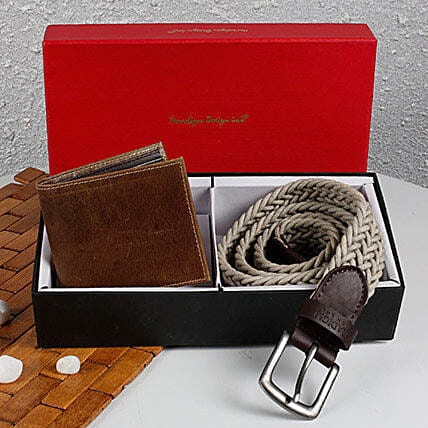 Paradigm Woven Belt N Wallet Combo: Fashion Accessories