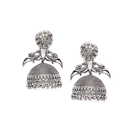 Peacock Tribal Silver Plated Jhumkis: Jewellery Gifts