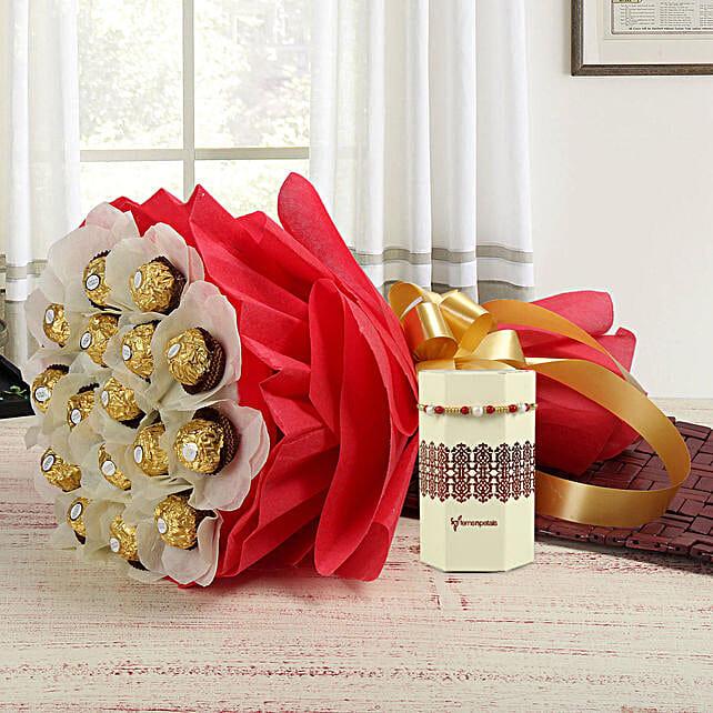 Pearl Rakhi & Ferrero Rocher Bouquet: Rakhi / Raksha Bandhan Gifts