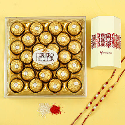 Pearl Rakhi Set & Ferrero Rocher Chocolates: Rakhi Gifts