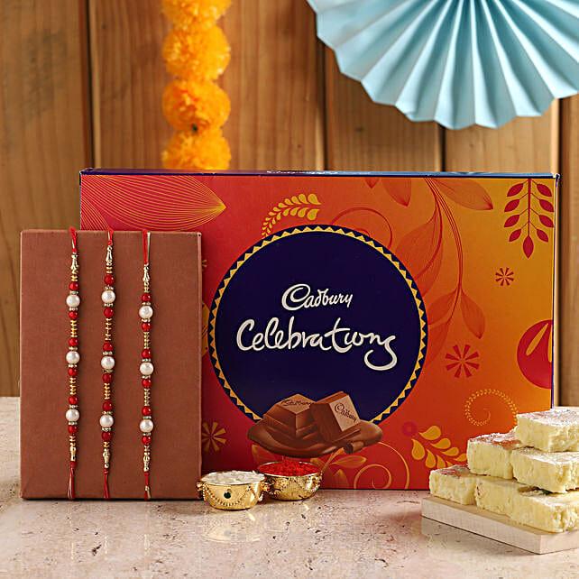 Pearl Rakhis With Pista Burfi & Cadbury Box: Rakhi With Chocolates Bestsellers