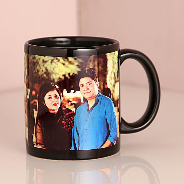 Personalised Couple Black Mug: Custom Photo Coffee Mugs