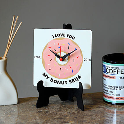 Personalised Donut MDF Table Clock: Personalised Clocks