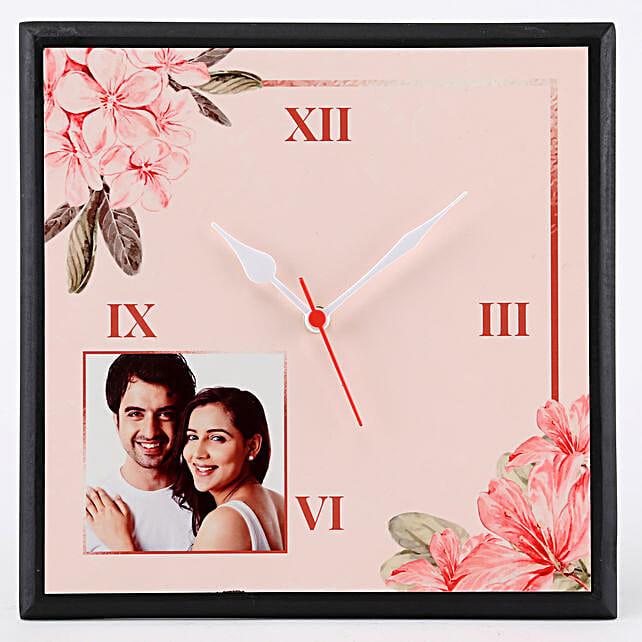 Personalised Floral Print Wall Clock: Clocks