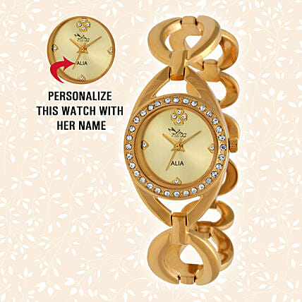 Personalised Graceful Golden Watch: Gift for Girlfriend Day