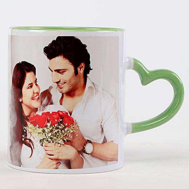 Personalised Green Heart Shaped Handle Mug: Coffee Mugs