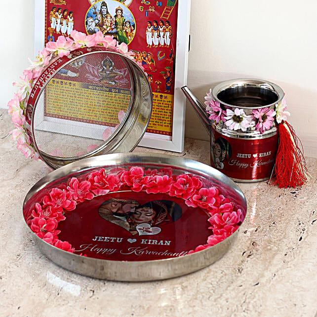 Personalised Karwa Chauth Thali & Kalash Combo: Pooja Thali