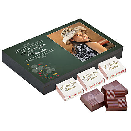 Personalised Love You Chocolate Box- Green: Valentine Personalised Chocolates