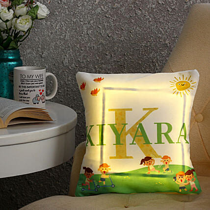 Personalised Name LED Cushion: Gift for Girlfriend Day