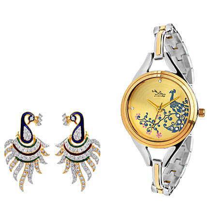 Personalised Peacock Watch & Earrings: Jewellery Gifts