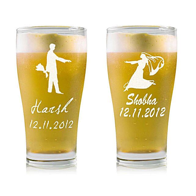 Personalised Set Of 2 Beer Glasses 2211: