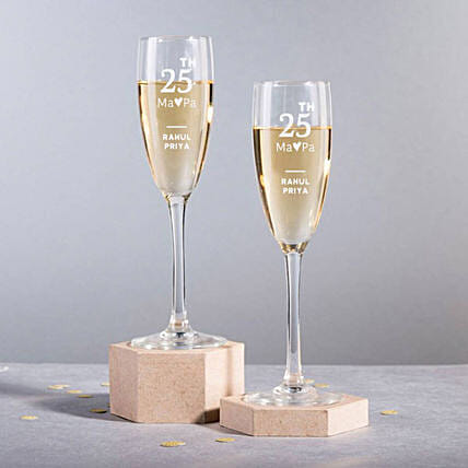 Personalised Set Of 2 Champagne Glasses 2896: Personalised Glassware