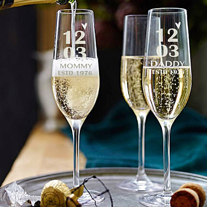 Personalised Set Of 2 Champagne Glasses 2897: Bar Accessories