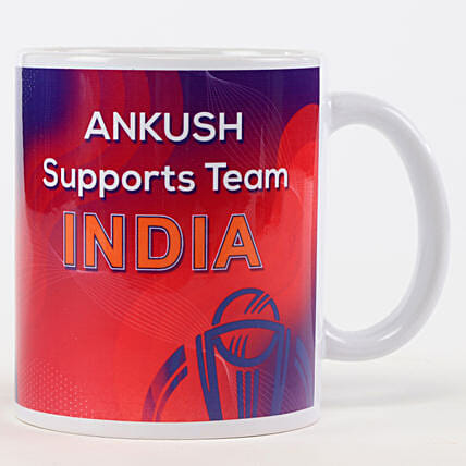 Personalised Support Team India Red Mug:
