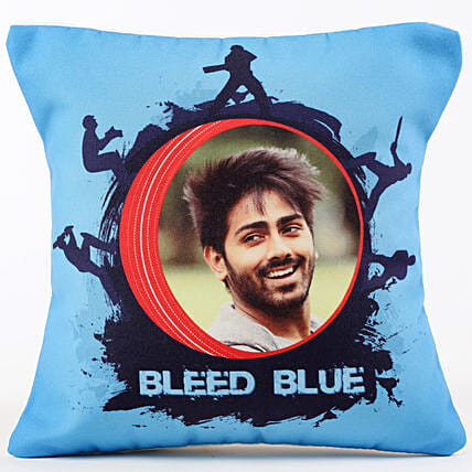 Personalised Team Bleed Blue Cushion: Cricket World Cup Gifts