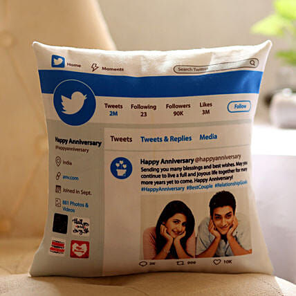 Personalised Twitter Anniversary Cushion: Friendship Day Personalised Cushions