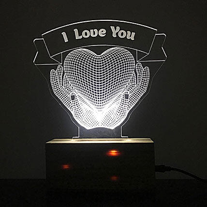 Personalised White LED I Love You Lamp: Personalised Lamps
