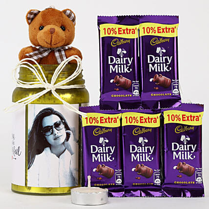 Personalised Yellow Jar & Chocolate Combo: Chocolate Gifts in India