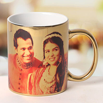 Personalized Ceramic Golden Mug: Gifts Delivery In Mughal Sarai
