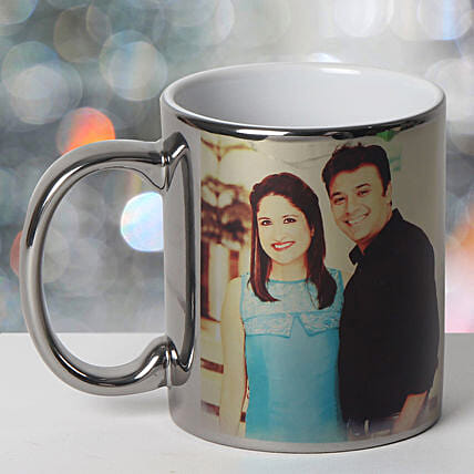 Personalized Ceramic Silver Mug: Send Birthday Gifts to Udupi