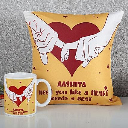 Personalized Heart Cushion N Mug Combo: Personalised Gifts Combos