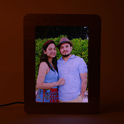 Personalized LED Wooden Frame: Valentine Personalised Photo Frames