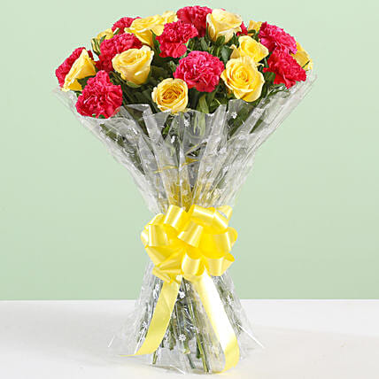 Pink Carnations & Yellow Roses Bouquet: Send Carnations
