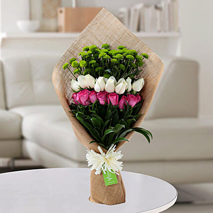 Pink N White Roses Bunch: