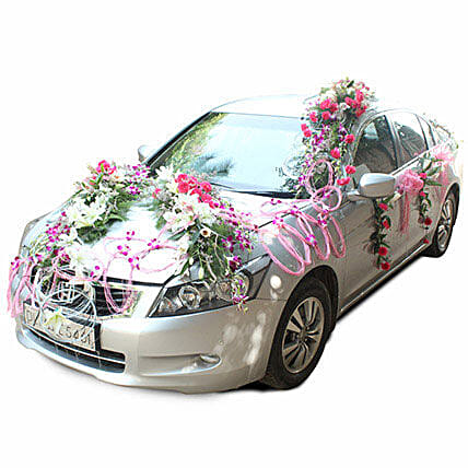 Pink Passion Car Decor: Car Flower Decoration