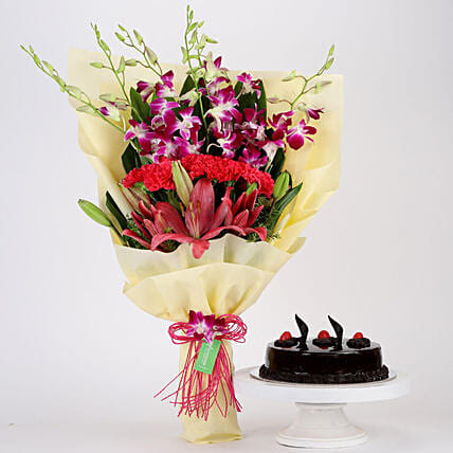 Pink & Purple Flowers & Truffle Cake Combo: Carnations