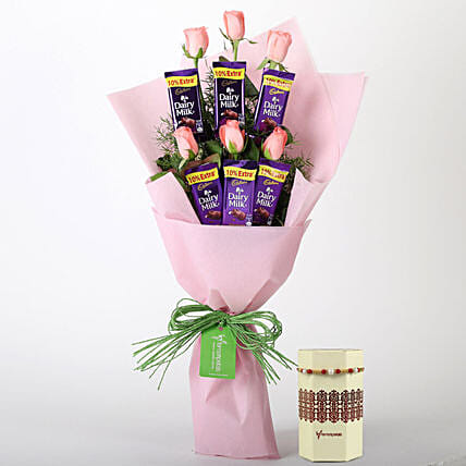 Pink Roses Chocolate Bouquet & Rakhi: Flowers with Chocolates