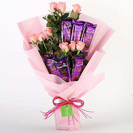 Pink Roses & Dairy Milk Silk Bouquet: