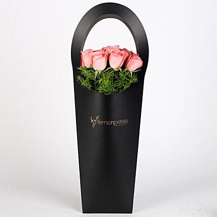 Pink Roses in Stylish Black Sleeve: Send Flowers In Sleeve