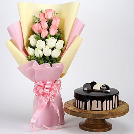 Pink White Roses Choco Cream Cake Flowers Combos