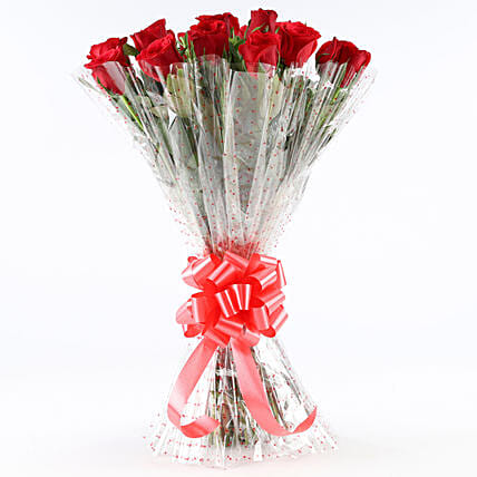 Pure Romance-18 Red Roses Bouquet: Anniversary Flowers